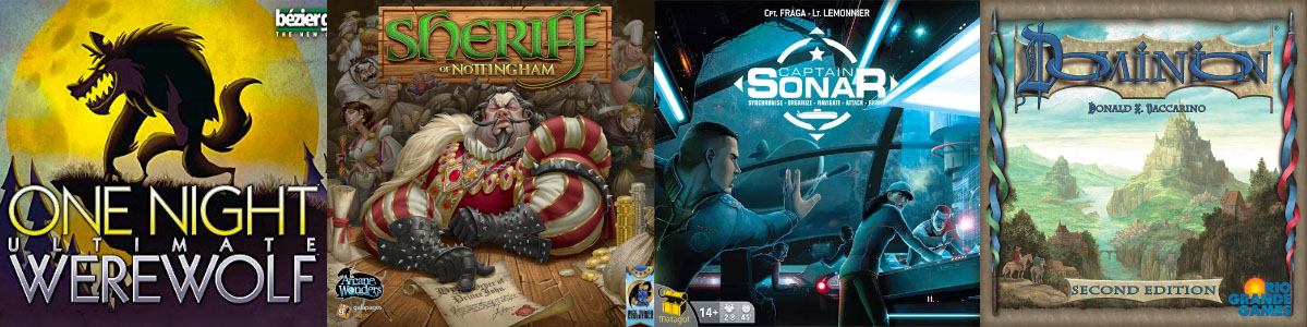 Box art of various boardgames